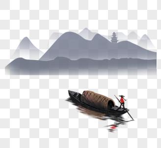 中国风风景群山 渔船图片