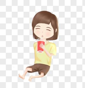 坐着喝果汁的小女孩图片