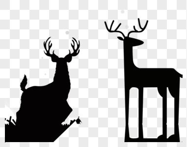 剪影鹿图片