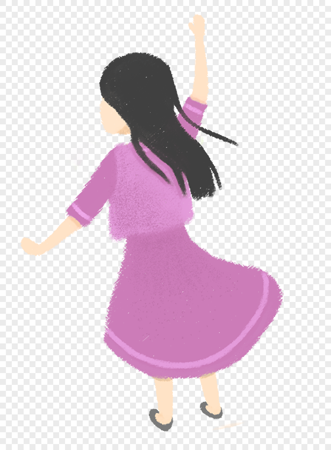 图片 素材 手绘/卡通元素 跳舞的女孩.