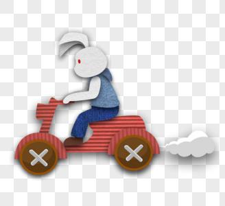 骑车的兔子图片