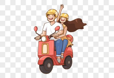 骑着摩托车的男女图片