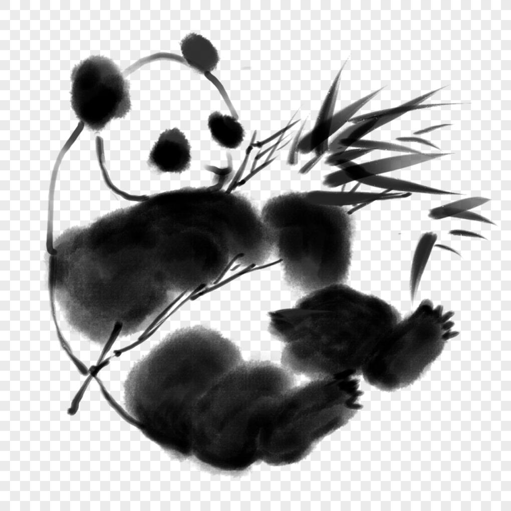水墨画大熊猫