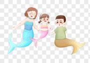 穿美人鱼服装的一家人图片