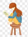 抱腿看书的女孩图片