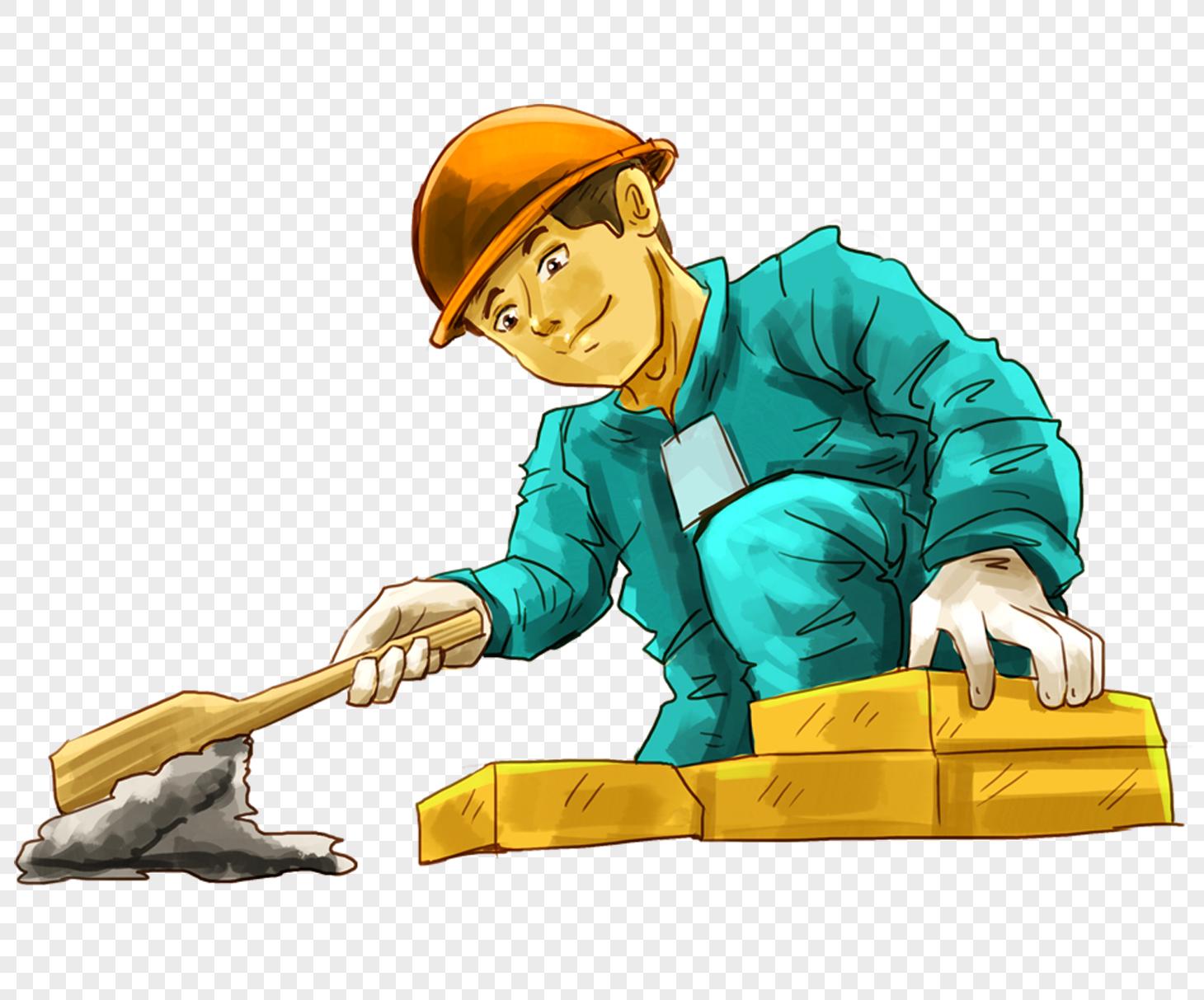 图片 素材 手绘/卡通元素 建筑工人.