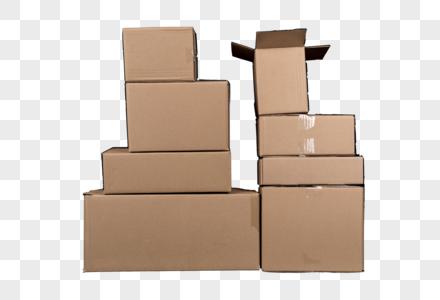 摞一起的瓦楞纸包装箱免抠图元素图片