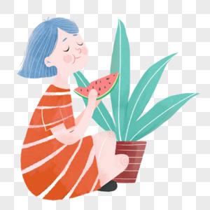盘腿吃西瓜的女孩图片