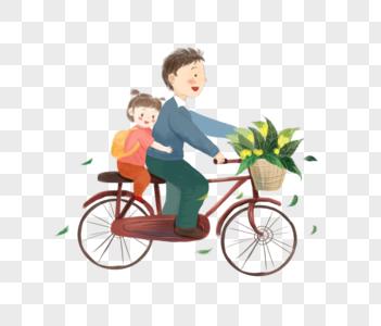 骑自行车的父女高清图片