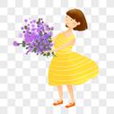 送花的女孩图片