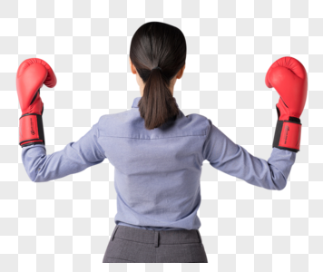 带着拳击手套的职场女强人背影图片