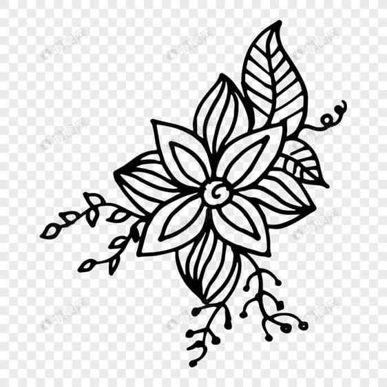 矢量手绘创意线条花卉装饰图案