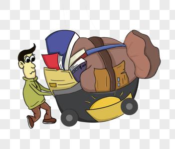 推着一车书本的男孩图片
