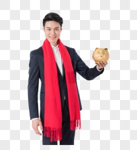 商务男性手拿理财金猪图片图片