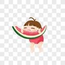 抱着西瓜的小女孩图片