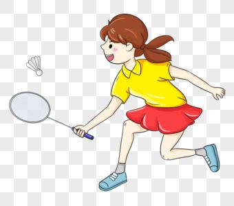 打羽毛球的女孩图片