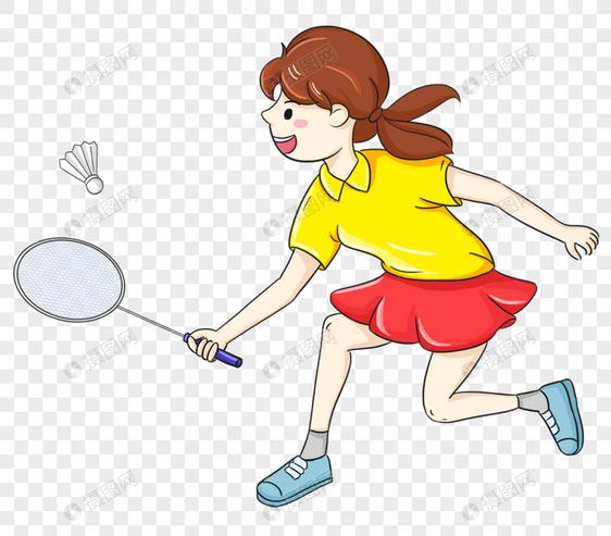 打羽毛球的女孩元素素材格式_设计素材免费下载_vrf