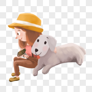女孩和小狗图片
