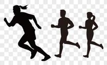 跑步人物剪影图片