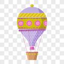 手绘卡通热气球矢量素材图片
