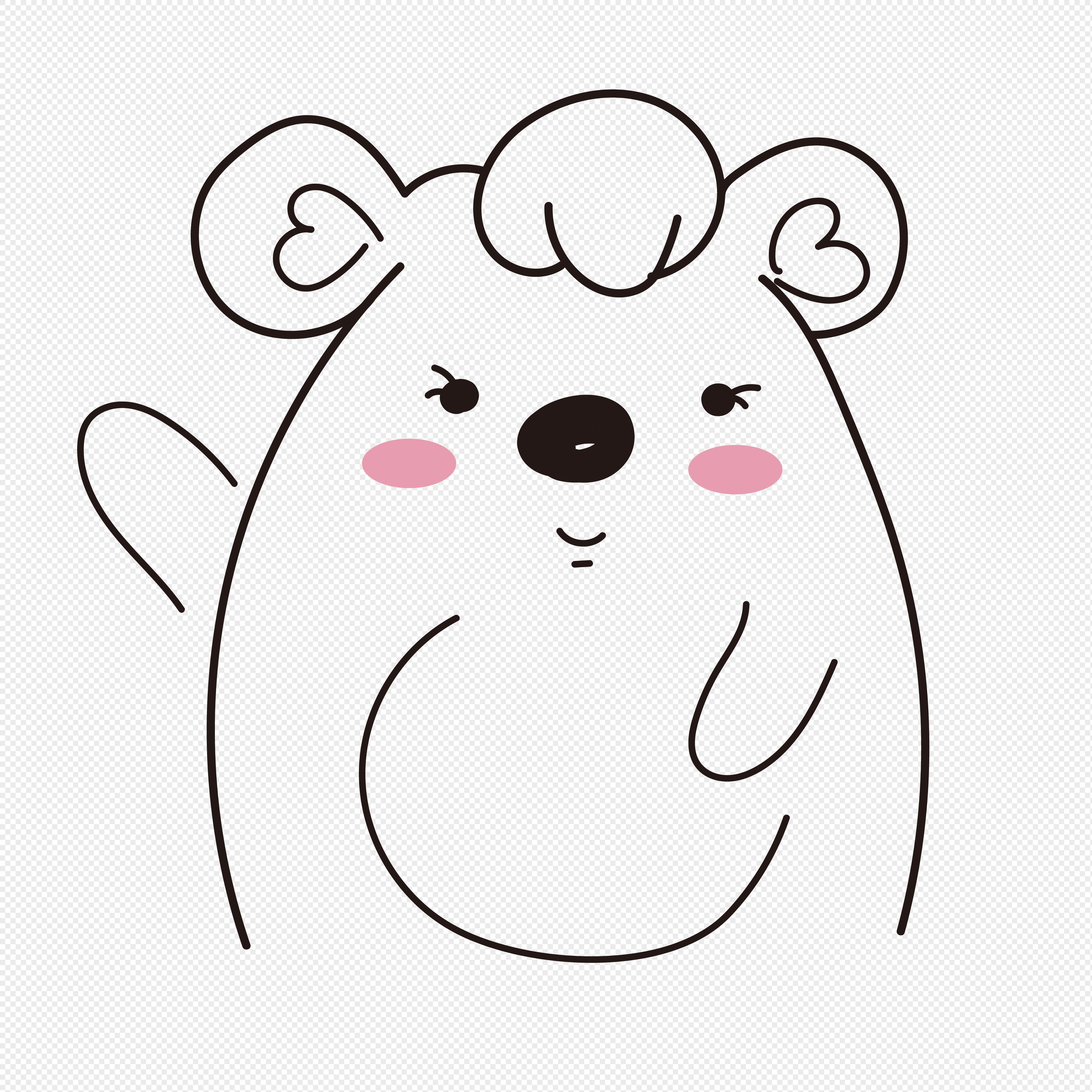 卡通熊儿童涂鸦线条简笔画