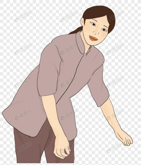 弯腰捡东西的女人
