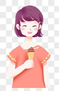 吃冰激凌的女孩图片