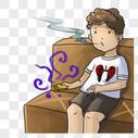 坐着吸烟的男孩图片