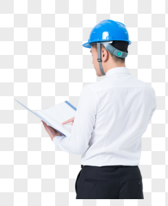 手拿文件夹戴安全帽的工程师图片