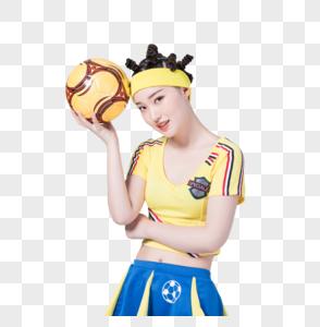 手拿足球的足球宝贝形象图片图片