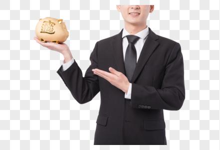 手捧储蓄罐理财概念图片