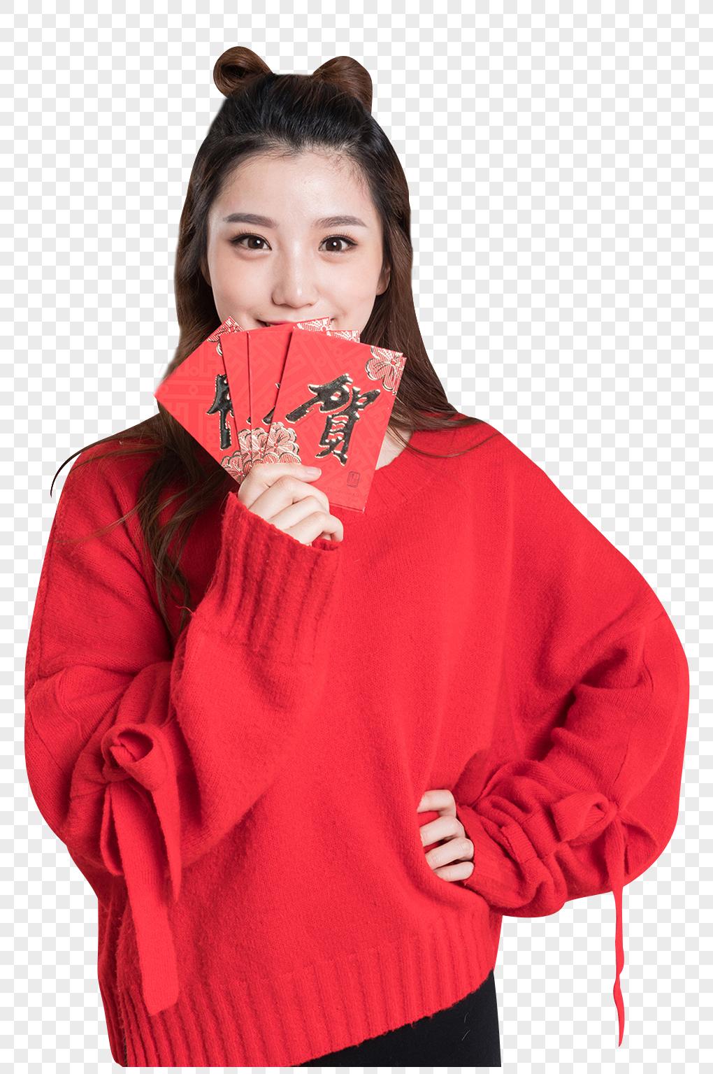 图片 素材 免抠人像 红色毛衣的可爱女生发红包图片.