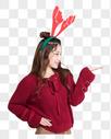 戴着鹿角的女生展示动作图片图片