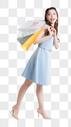 提着购物袋开心购物的年轻美女图片图片