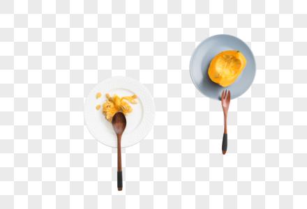 勺子盘子南瓜摆拍图图片图片