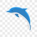 简约手绘扁平蓝色可爱海豚动物图片