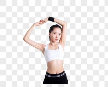 年轻女性健身动作拍摄图片图片