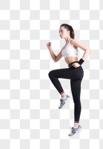 女性跑步动作白底棚拍图片图片
