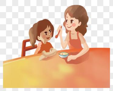 妈妈喂小女孩吃饭图片