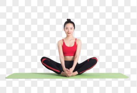 打坐放松的瑜伽动作白底棚拍图片图片
