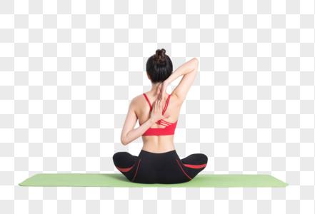 打坐放松的瑜伽动作白底棚拍图片
