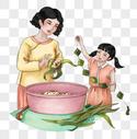 母女包粽子图片