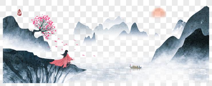 中国风水墨山水画图片