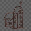 棕色线条房子图片