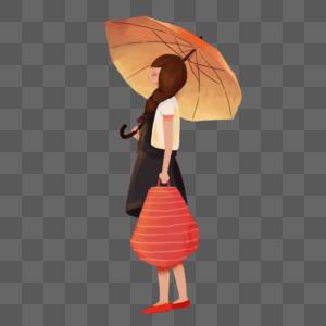 雨中出门的女生图片