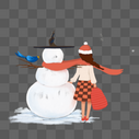 女孩与雪人图片