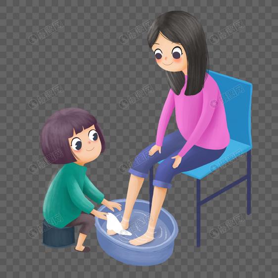 母亲节 给妈妈洗脚的女孩元素素材psd格式_设计素材_.