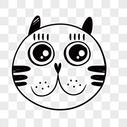 手绘黑白线条可爱猫猫头像图片