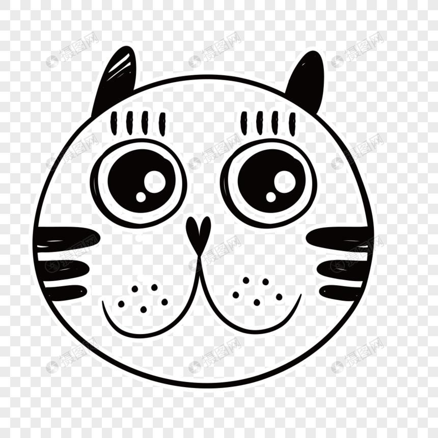手绘黑白线条可爱猫猫头像