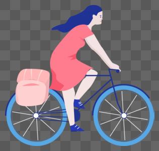 骑单车女孩图片